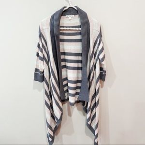 Anthropologie Aphorism Grey & Pink Striped Sweater